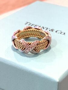 Tiffany & Co. Schlumberger 18k Platinum 4 Row Diamond X Ring Size 6 1/2