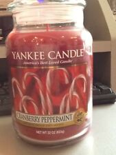 Yankee Candle Large USA Deerfield Label Cranberry Peppermint VHTF