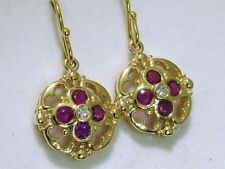 E024 Genuine SOLID 9ct Gold NATURAL Ruby & Diamond DROP Earrings Ornate Dangles