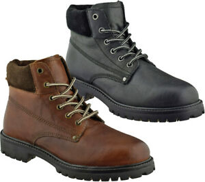 Mens Leather Lace Up Redtape Ankle Boots Casual Walking Hiking Trainers Shoes