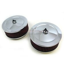 """2 Chrome Air Cleaner Kit Washable 6-3/8"""" Round 4 Brl Barrel Filters Dual Carb"""