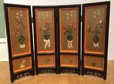 Vintage Chinese Lacquer Four Seasons Table Screen Jade Coral Flower Urns Bird HP
