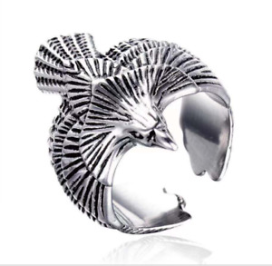 AU Eagle Ring Hawk Stainless Steel Gothic Punk Biker Falcon Men's ring Resizable