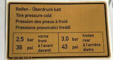 Étiquette la Pression des Pneus , Pour Porsche 928 - Autocollant Pneu Pressure