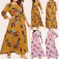 Women Chiffon Casual Floral Print O-Neck Long Sleeve Boho Maxi Dress Plus Size A