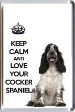 Mantener la calma y el amor de su Cocker Spaniel Blue Roan Spaniel Perro imagen Nevera Imán