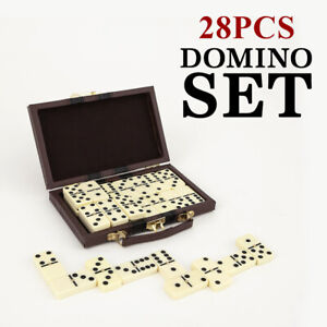 28 Piece Vintage Classic Domino Set With Storage Case Game Dominoes Children Toy