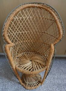 Lovely Vintage Toy Bamboo Peacock Chair for Doll Decorative