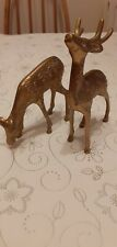 Pair Vintage Brass Deer Stag And Doe. (See Description)