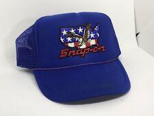 Vintage Snap On Tools Rope Trucker Motorcycle Blue Racing Snapback Hat Cap 80s
