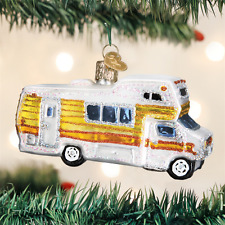 Classic Motorhome Camper Travel glass Ornament Old World Christmas NEW IN BOX