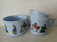 Wade Porcelain Jim Beam Animated Characters Blue Pitcher and Sugar Bowl