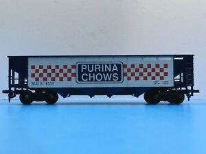 """HO Scale """"Purina Chows"""" MRS 4550 4-bay Open Hopper Freight Train Car"""
