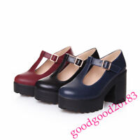 Womens  Ladies Block Heels Platform Pumps Mary Janes Buckle T-Bar Punk Shoes New