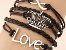 Infinity Love Queen Crown  Leather Charm Bracelet Plated Silver