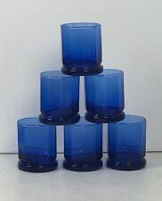 6 Vintage Anchor Hocking Essex Cobalt Blue Tumbler Glasses 10 Oz Water 10-Sided