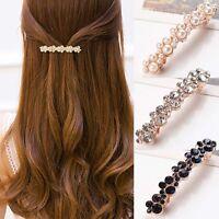 Women Girls Elegant Crystal Rhinestone Pearl Barrettes Hair Clip Clamp* Sale