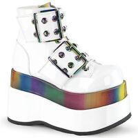 Demonia BEAR-104 White Rainbow Disco Punk Emo Costume Buckle Women's Ankle Boots