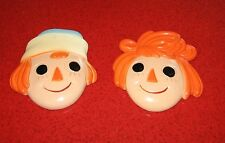 Vintage RAGGEDY ANN & ANDY CHALKWARE SET Wall Deocration by Miller Studio 1960's
