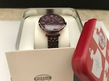NEW FOSSIL Women's ES4100 Jacqueline Three Hand Stainless Steel Watch Wine $145