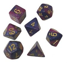 Purple and Blue Marbled Swirl- Set of 7 Polyhedral Dice (7 Die in Pack)- RPG