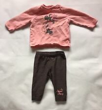 Baby Girls 3-6 Months Early Days Disney Pink Minnie Mouse Outfit Top Bottoms