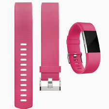 Silicone Rubber Bracelet Strap Clasp Wristband Watch Band for Fitbit Charge 2