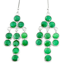 Natural Green Emerald 925 Sterling Silver Chandelier Earrings M42451