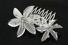 Sparkly hair comb diamante rhinestone flower mesh prom bridal bridesmaid 024