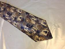 Mens Blue Brown White SILK Tie Necktie ROBERT STOCK~ FREE US SHIP (10548)