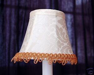 Set of 2 Ivory Color with Gold Fancy Trim Chandelier Clip on mini Shades