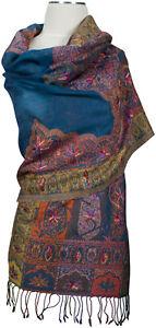Schal Mehrfarbig leicht bestickt, scarf stole embroidered, Wolle wool Blue