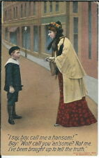 BB-208 Boy call Me a Hansom, Boy and Old Woman 1907-1915 Divided bk Postcard
