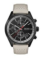 New Hugo Boss 1513562 Grand-Prix Black Dial Chronograph Grey Strap Men's Watch
