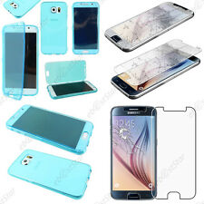 Housse Etui Coque Portefeuille Silicone TPU Bleu Samsung Galaxy S6 G920F  Verre