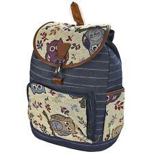 Kids Large Canvas Backpack Outdoor Travel Adjustable Straps Back to School Bag Owl Denim As-2259
