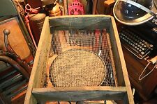 """Antique Primitive Large Wooden Sifter with Handles 39.5"""" Long"""
