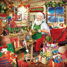 5 Paper Napkins Santas Workshop Pack Of 5 3 Ply Tissue Serviettes Christmas