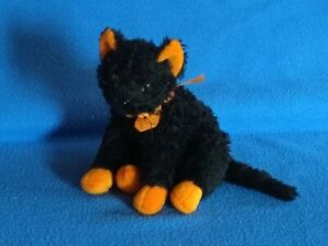 Ty Beanie Babies Soft Toy - 'Fraidy' Black Cat with orange paws and ears