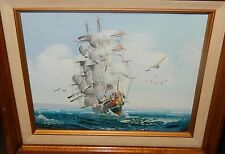 TEILLER SAIL SHIP AND BIRDS OIL ON CANVAS SEASCAPE PAINTING