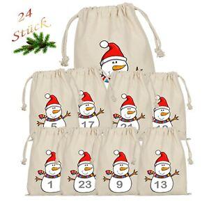 Schneemann Adventskalender zum Befüllen 24 Beutel Stoffsäckchen Weihnachtskalend
