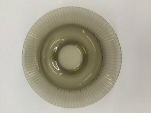 99835457 Tortenplatte Teller olivgrün- braun Glas 60er Jahre