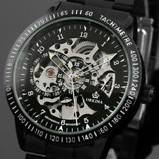 Skeleton Automatic Mens Watch Mechanical Self-winding Black Stainless Steel Band
