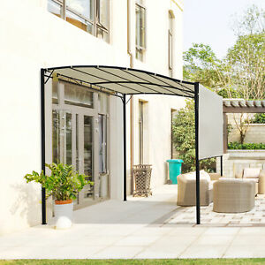 Outsunny Patio Metal Gazebo Wall Mount  Door Window Awning Outdoor Shelter