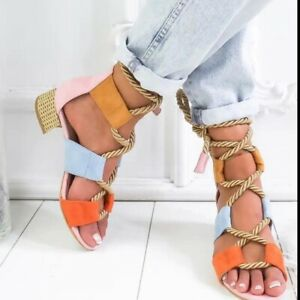Womens Sandals Bandage Strap Ankle Mid Heels Summer Block Shoes Lace Up Shoes '