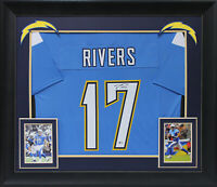 Chargers Philip Rivers Authentic Signed Powder Blue Framed Jersey BAS Witnessed
