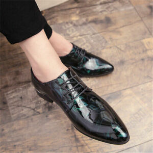 Men Pointy Toe Dress Shoes Lace Up Patent Leather Oxfords Floral Printed Shiny