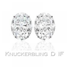 Diamond Solitaire Studs: 0.50ct Certified D IF Oval Shape Diamonds in Platinum
