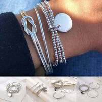 3pcs/set Multilayer Knot Bead Bracelet Men Women Wristband Bangle Charms Jewelry