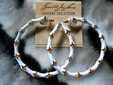 Kenneth Jay Lane Large Gold & White Enamel Bamboo Hoop Pierced Earrings